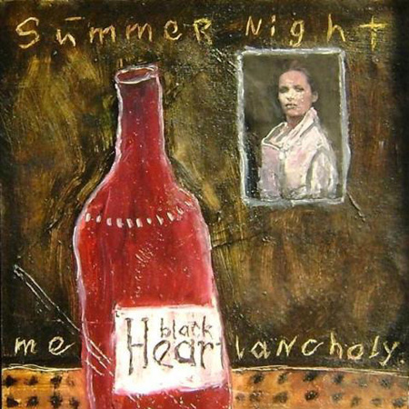 Summer night melancholy, картон, масло, коллаж, 30 х 21 см., 2010 г.